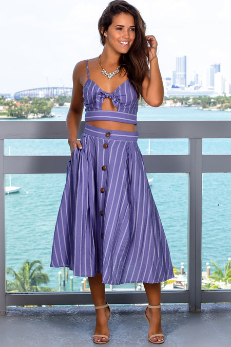 Blue Striped Two Piece Set
