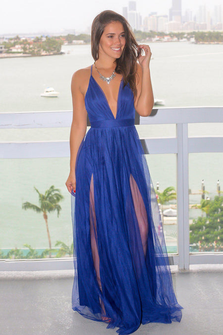 Blue Tulle Maxi Dress with Criss Cross Back