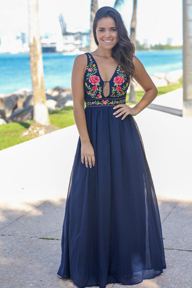 Blue V-Neck Maxi Dress with Floral Top