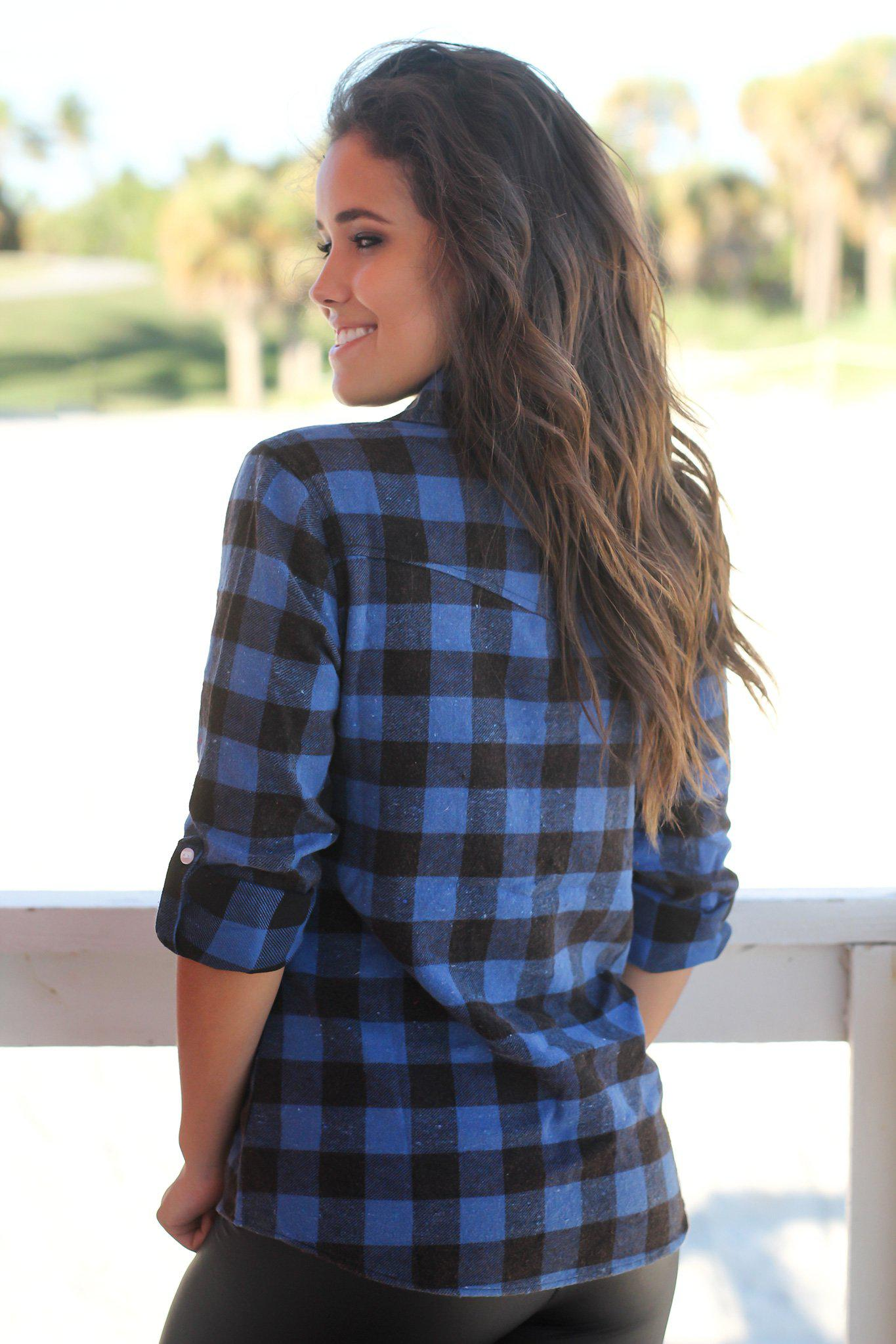 Blue and Black Flannel Top