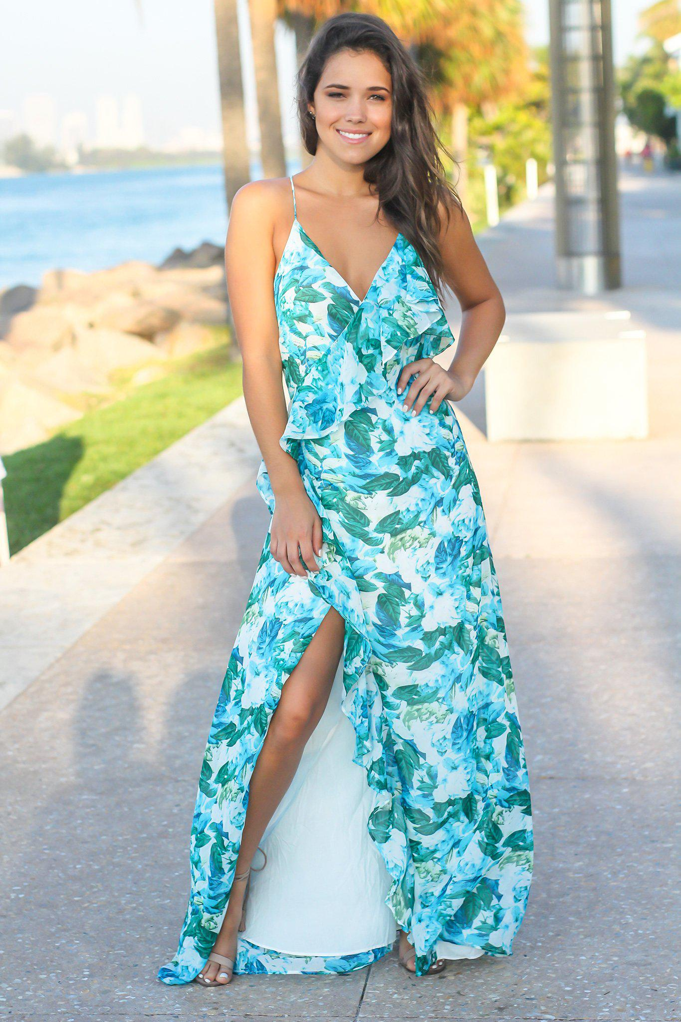 Blue and Green Printed Maxi Dress with Ruffle Wrap Dress