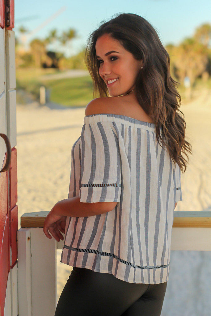Blue and Ivory Off Shoulder Striped Top