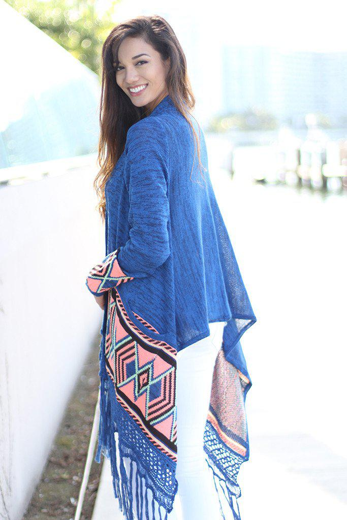 Blue and Neon Pink Long Cardigan