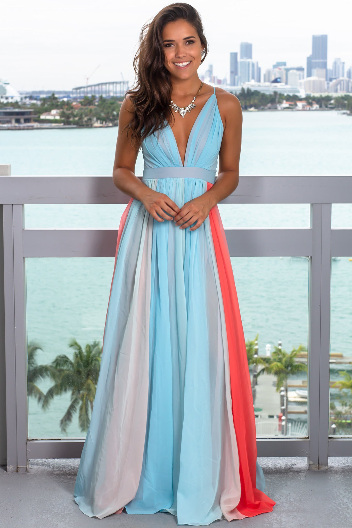 Blue and Orange Ombre Maxi Dress