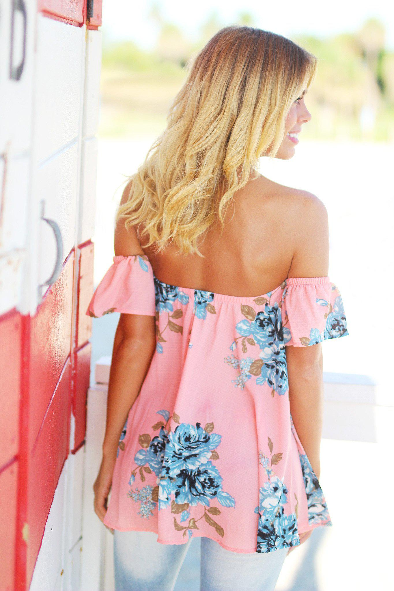 Peach and Blue Floral Off Shoulder Top