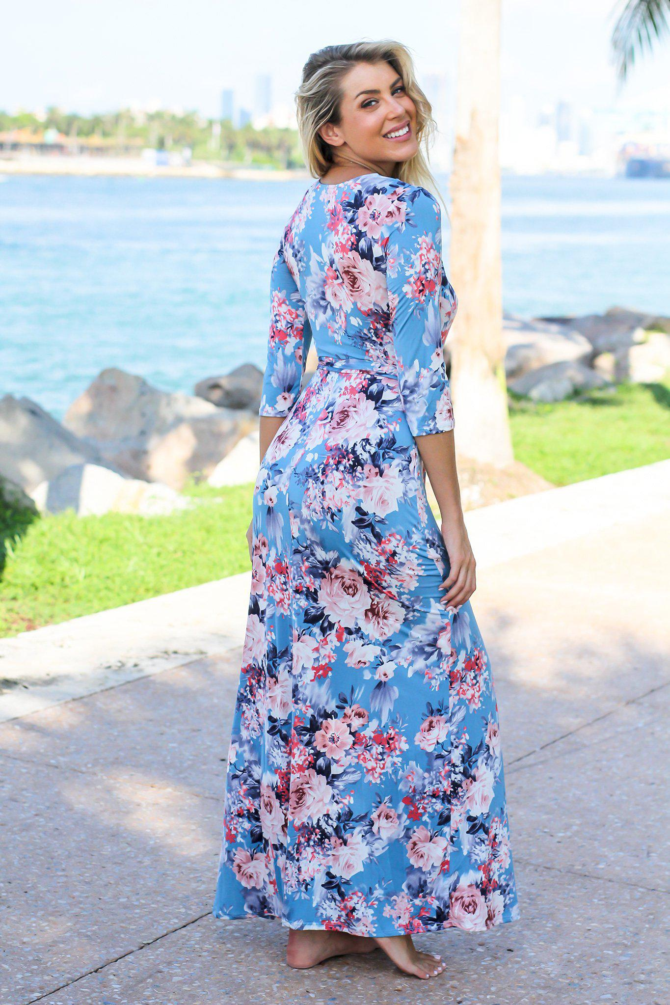 Blue and Pink Floral Wrap Maxi Dress