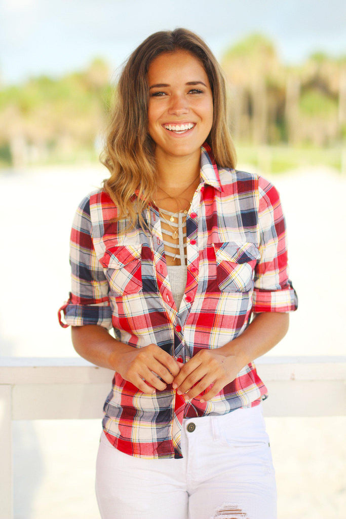 blue and red plaid top