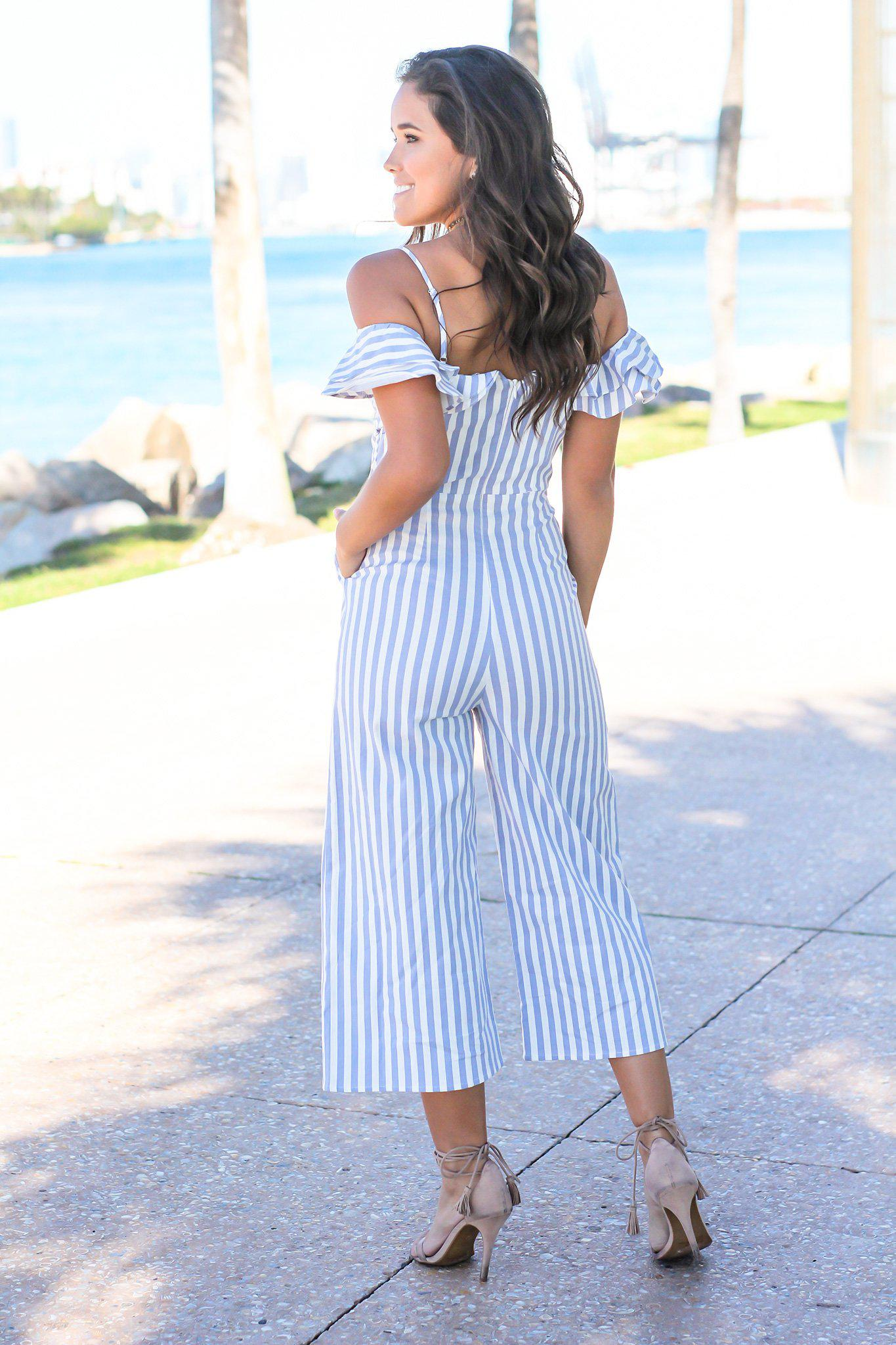 Blue and Striped Ruffle Jumpsuit