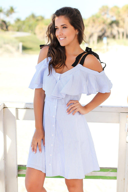 Blue and White Striped Off Shoulder Short Dress with Ruffles