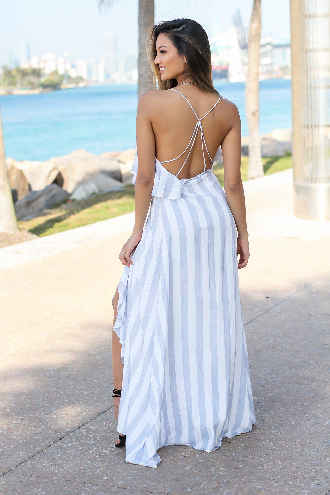 Blue and White Striped Wrap Dress with Ruffles