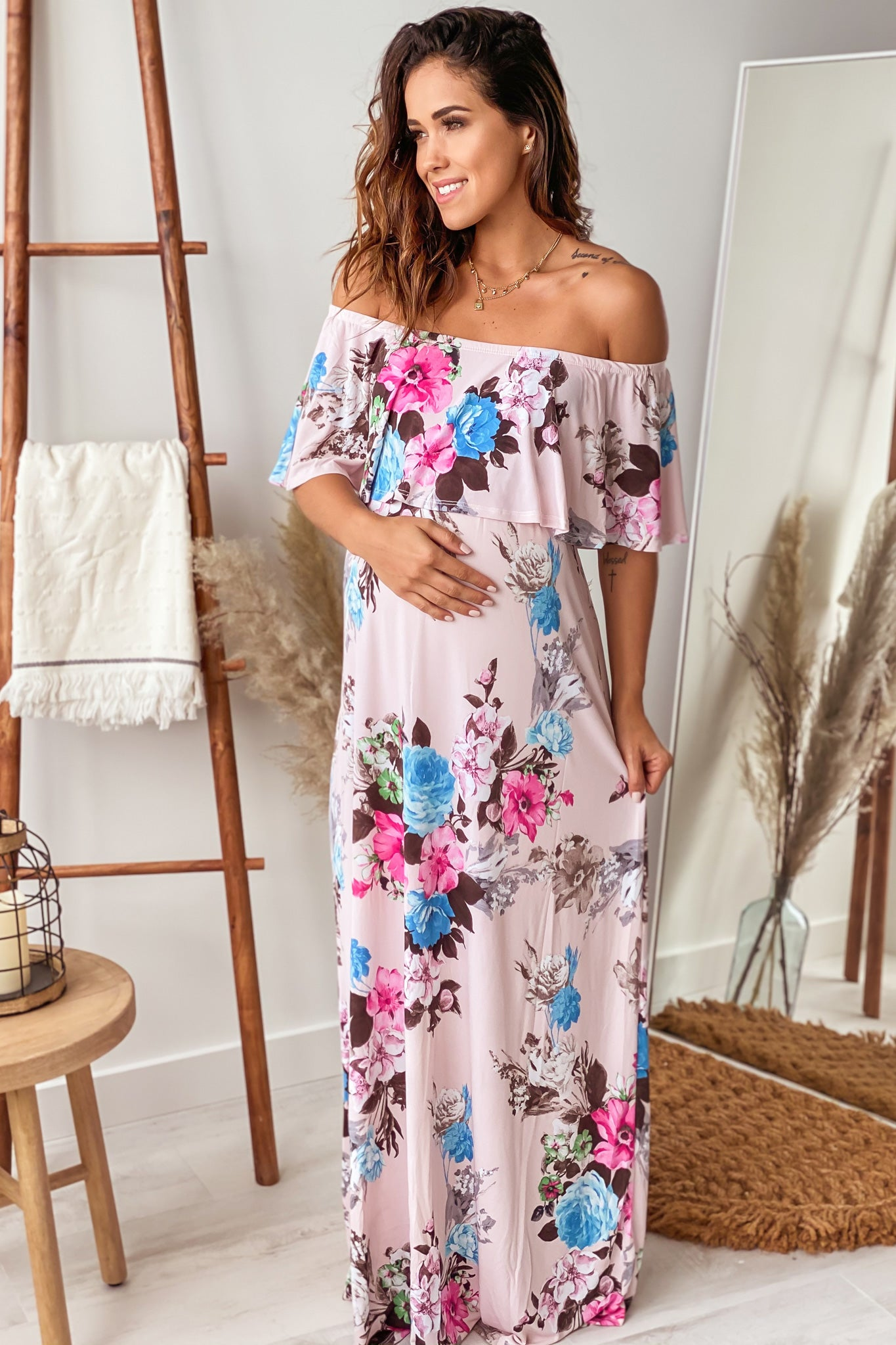 Blush Floral Off Shoulder Maternity Maxi Dress