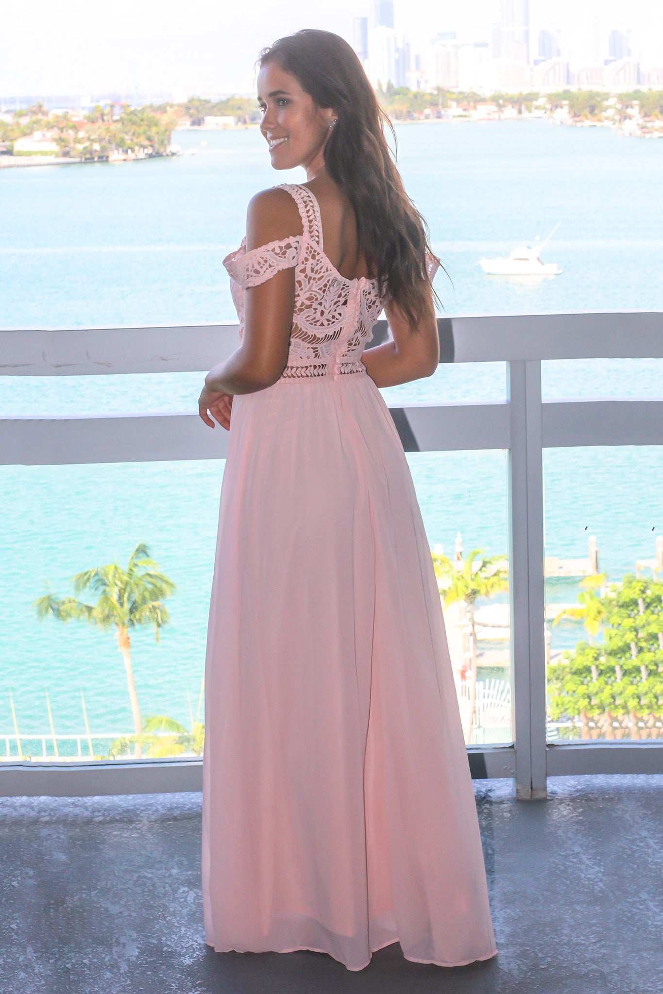 Blush Cold Shoulder Maxi Dress with Crochet Top