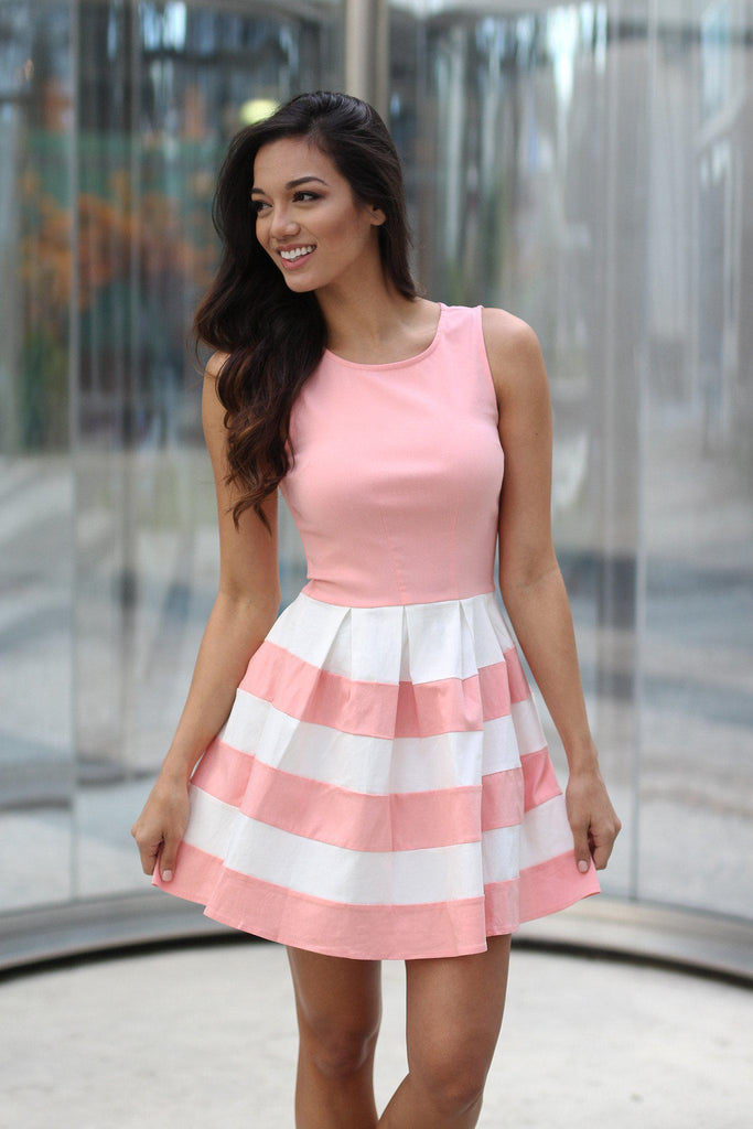blush color block short dress
