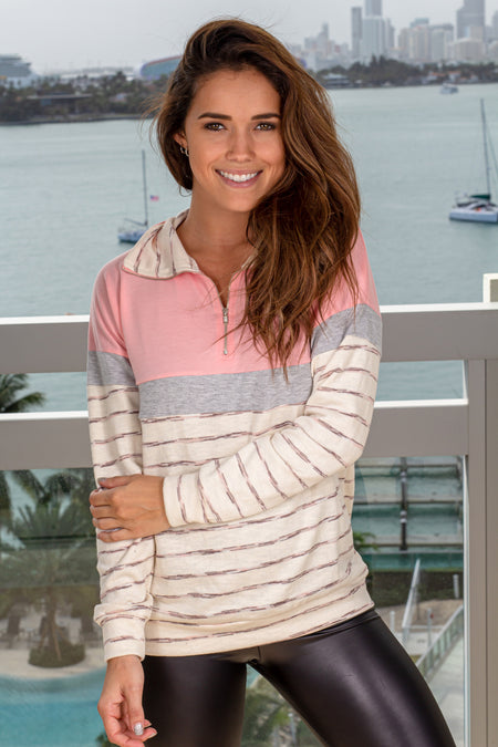 Blush Color Block Pullover