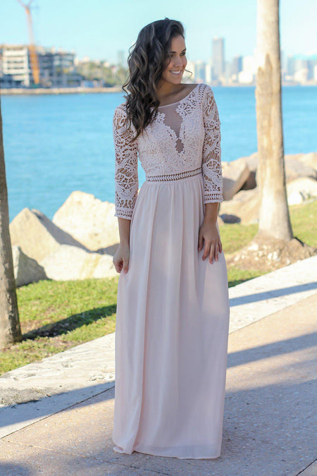Blush Crochet Maxi Dress with 3/4 Sleeves