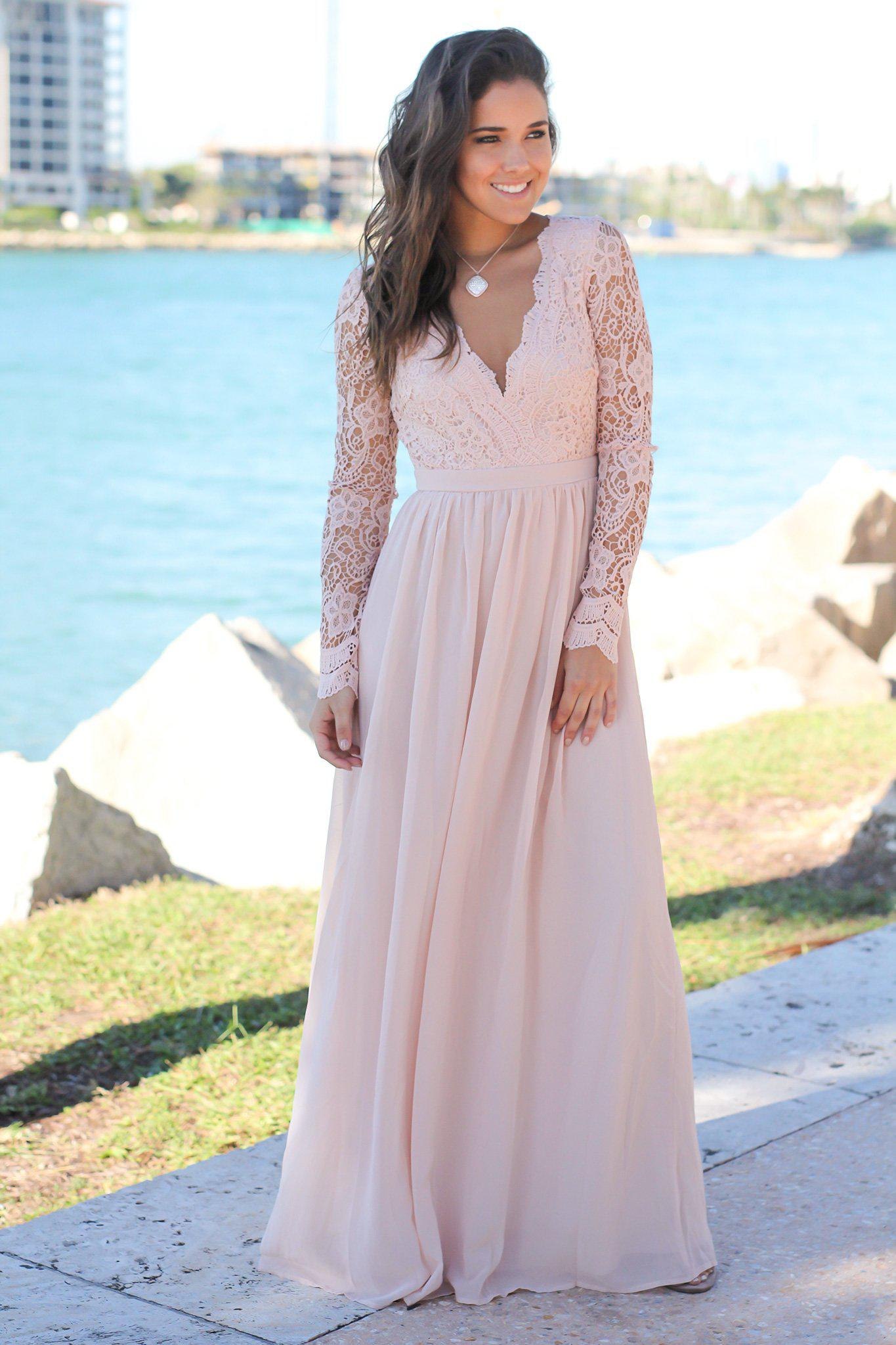 Blush crochet maxi dress with open back and long sleeves blush crochet maxi dress with open back and long sleeves bridesmaid dresses ombrellifo Image collections