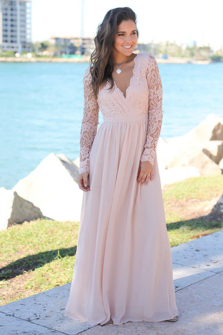 Blush Crochet Maxi Dress with Open Back and Long Sleeves