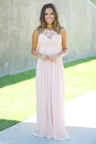 Blush Crochet Maxi Dress with Open Back