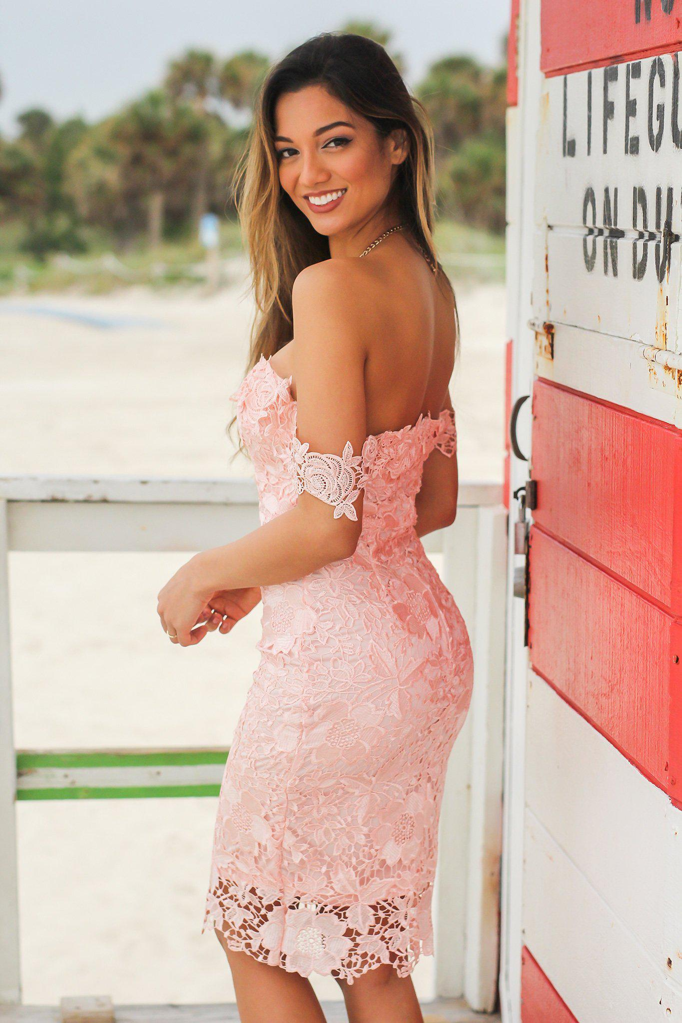Blush Crochet Off Shoulder Short Dress