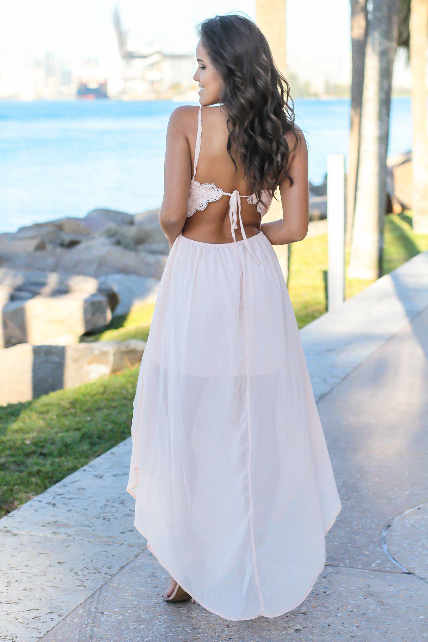 Blush Crochet Top Maxi Dress with Open Back and Slits