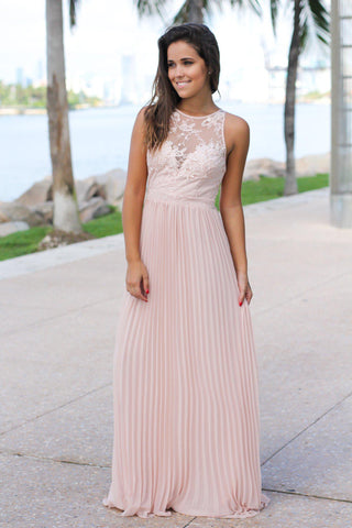 Blush Pleated Maxi Dress with Embroidered Top