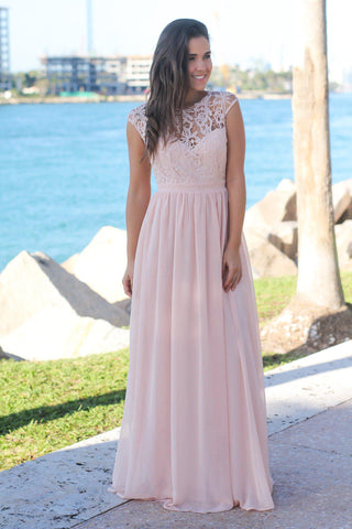 Blush Crochet Maxi Dress with Tulle Back