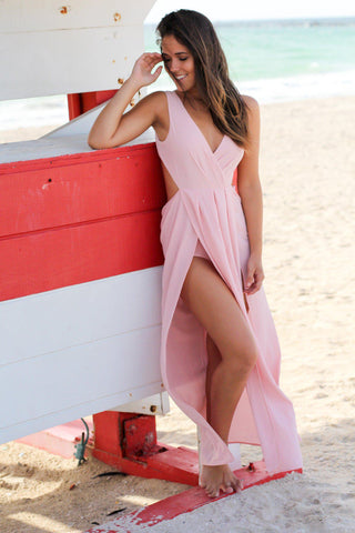 Blush Maxi Dress with Open Back and Knot