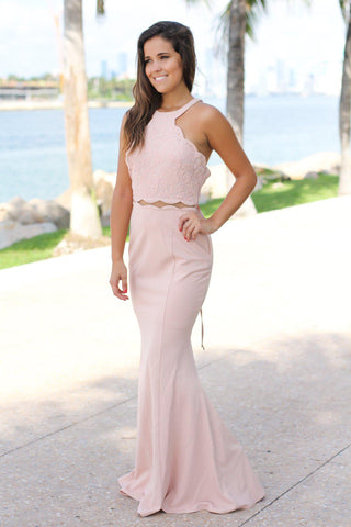 Blush Maxi Dress with Lace Up Back and Mesh Detail
