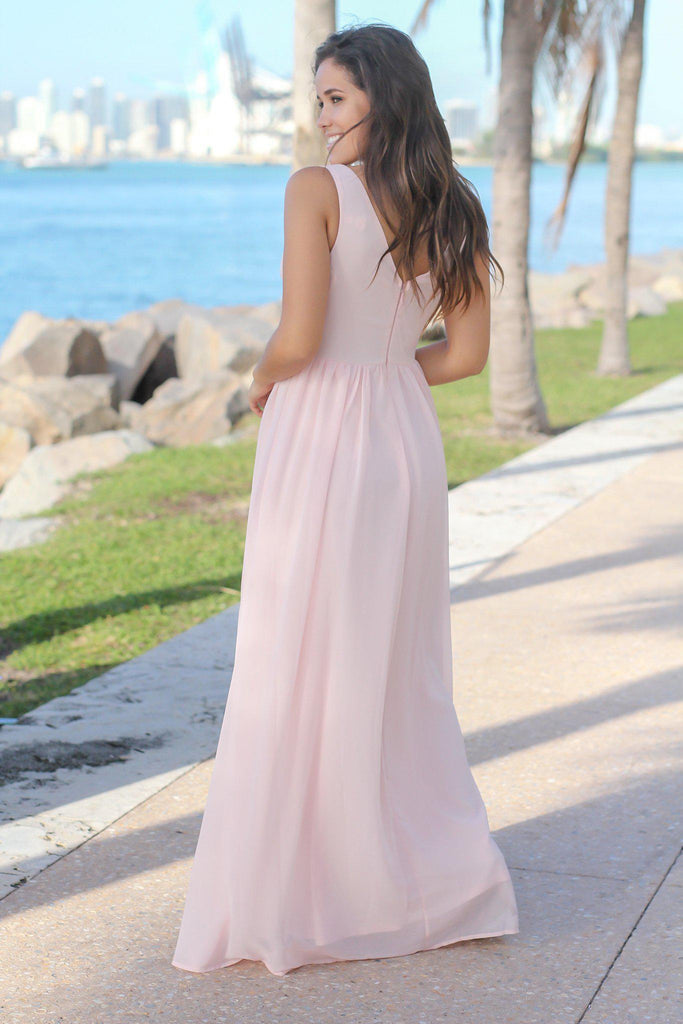 Blush V-Neck Maxi Dress with Pleated Top