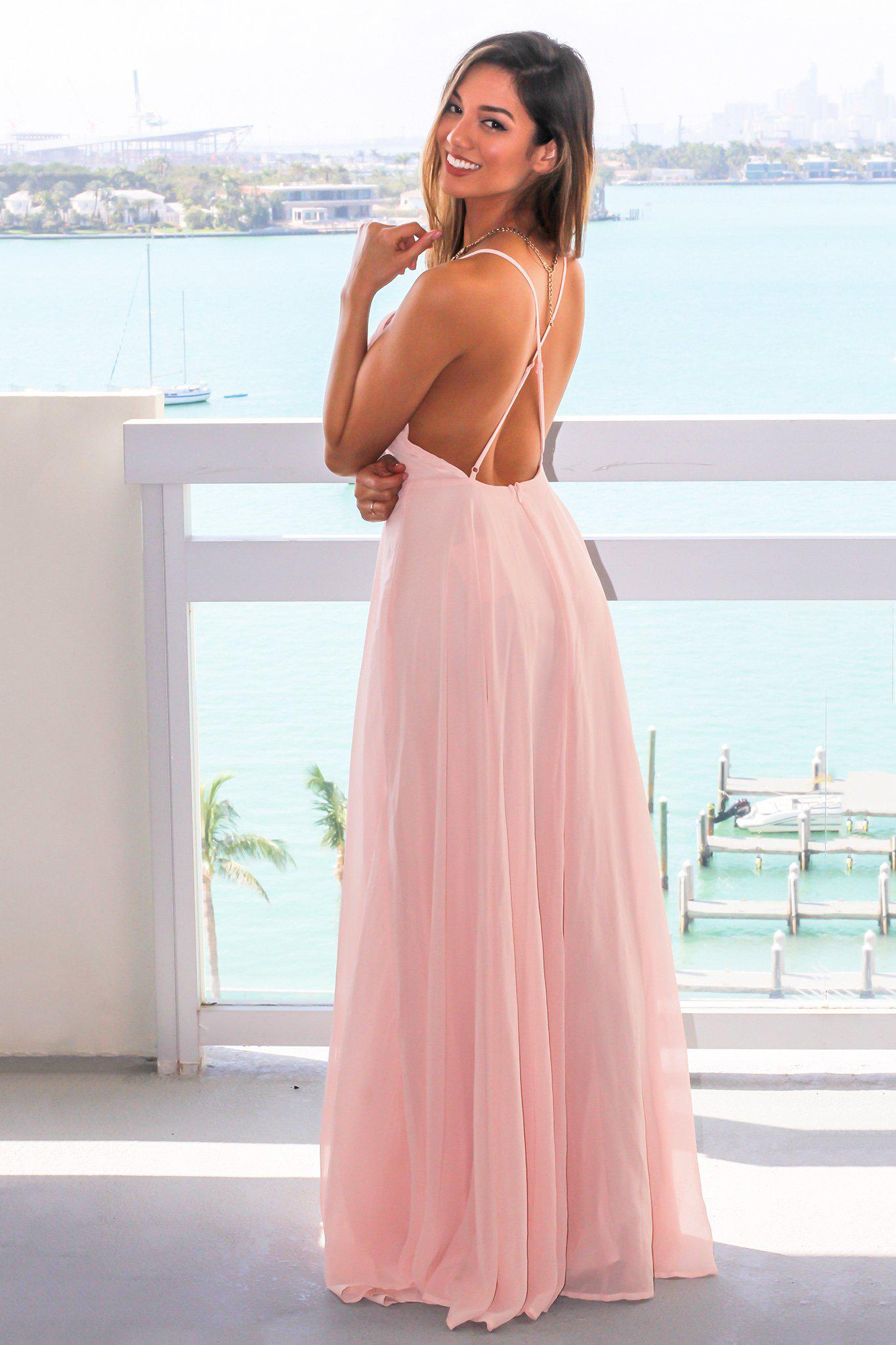 Blush Dress with Criss Cross Back
