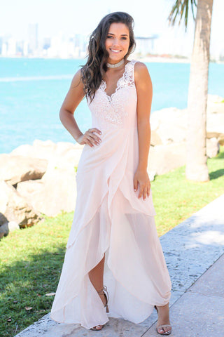 Blush Maxi Dress with Embroidered Top