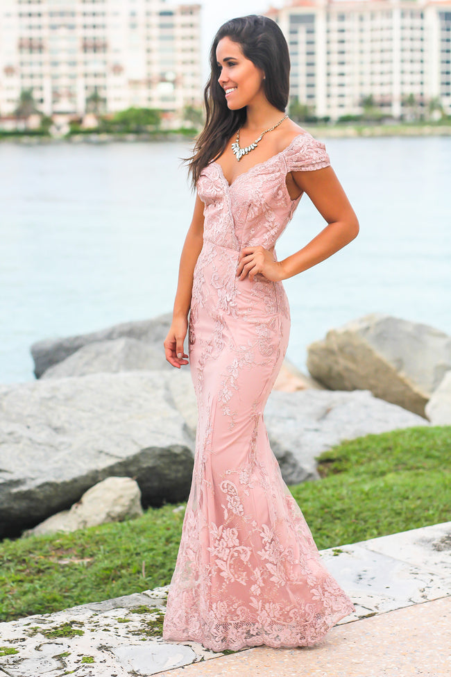 Blush Embroidered Maxi Dress with Mesh Back