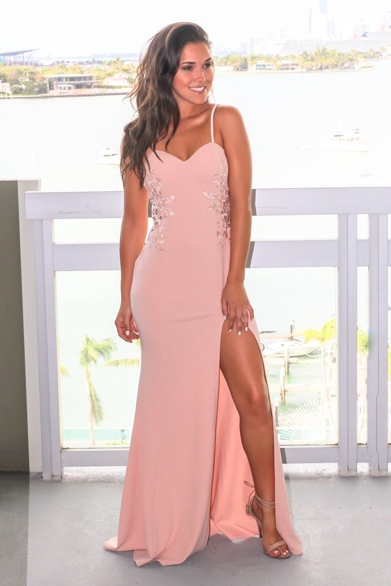 Blush Embroidered Sleeveless Maxi Dress with Side Slit