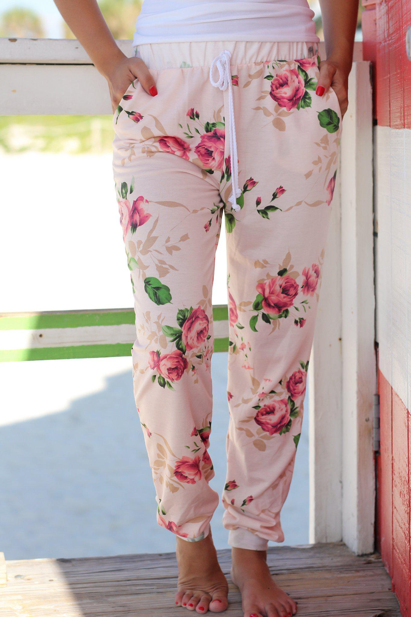 Blush Floral Drawstring Pants