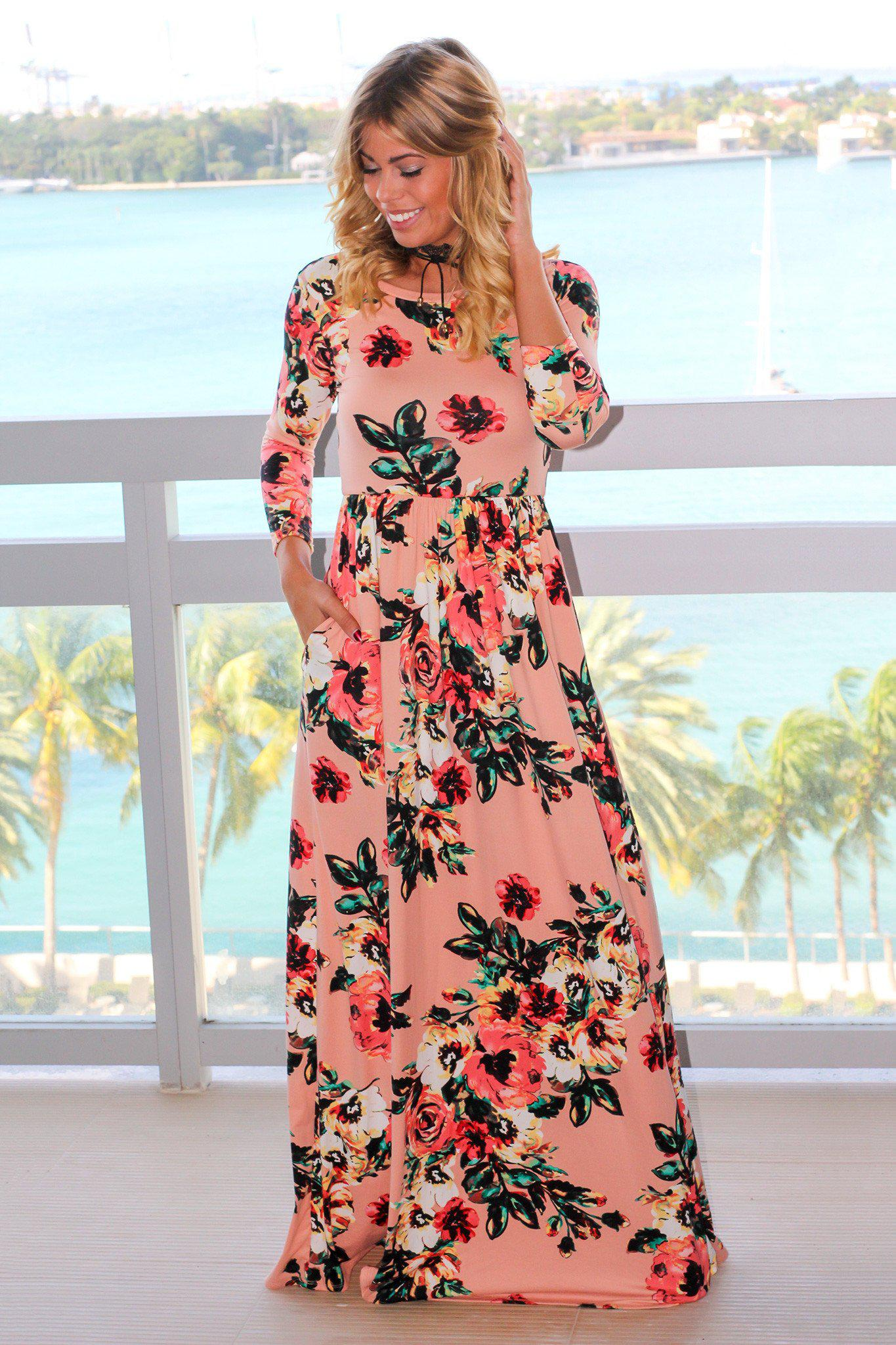 c1aa5d035e552 Blush Floral Maxi Dress with 3/4 Sleeves | Maxi Dresses – Saved by the Dress
