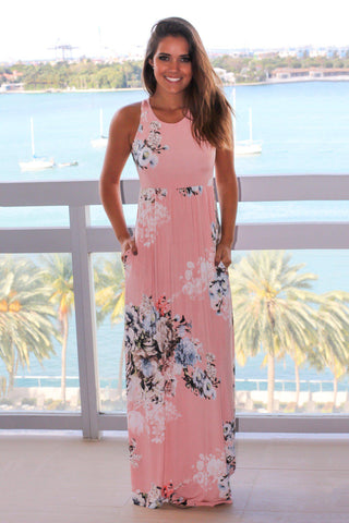 Blush Floral Racerback Maxi Dress with Pockets