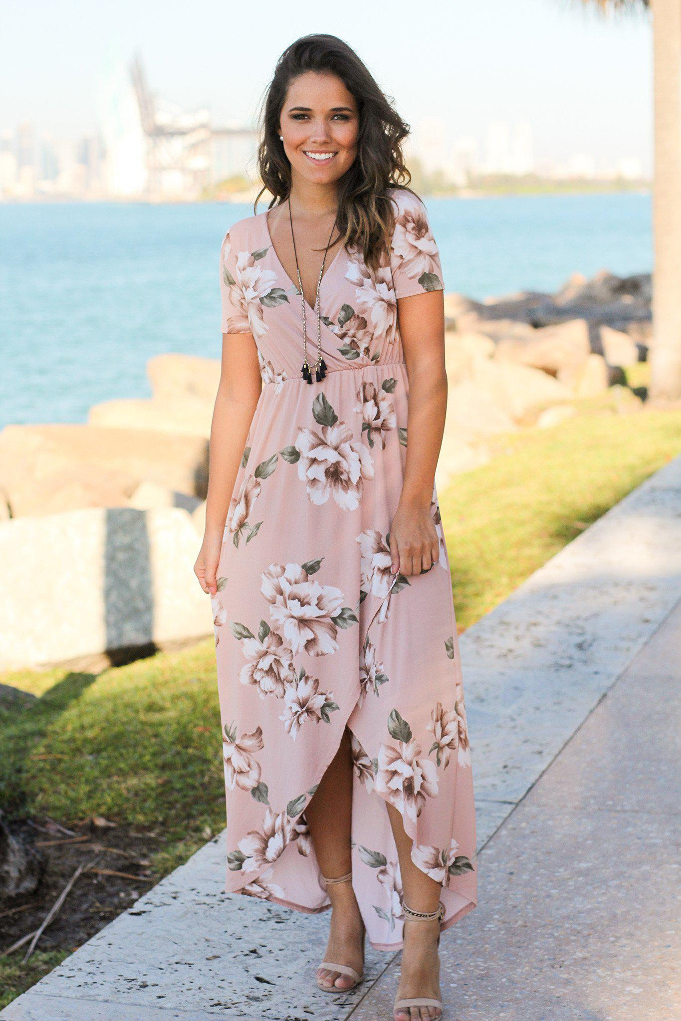 Blush Floral High Low Dress