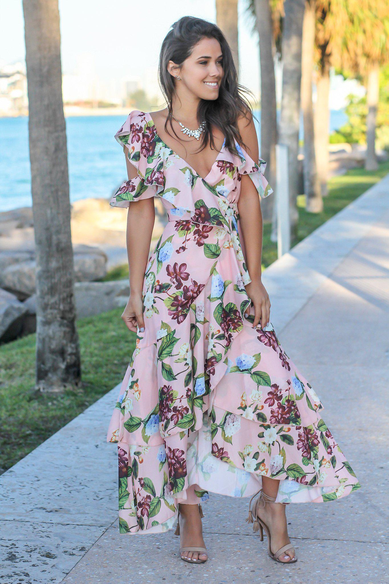 Blush Floral High Low Dress with Ruffles