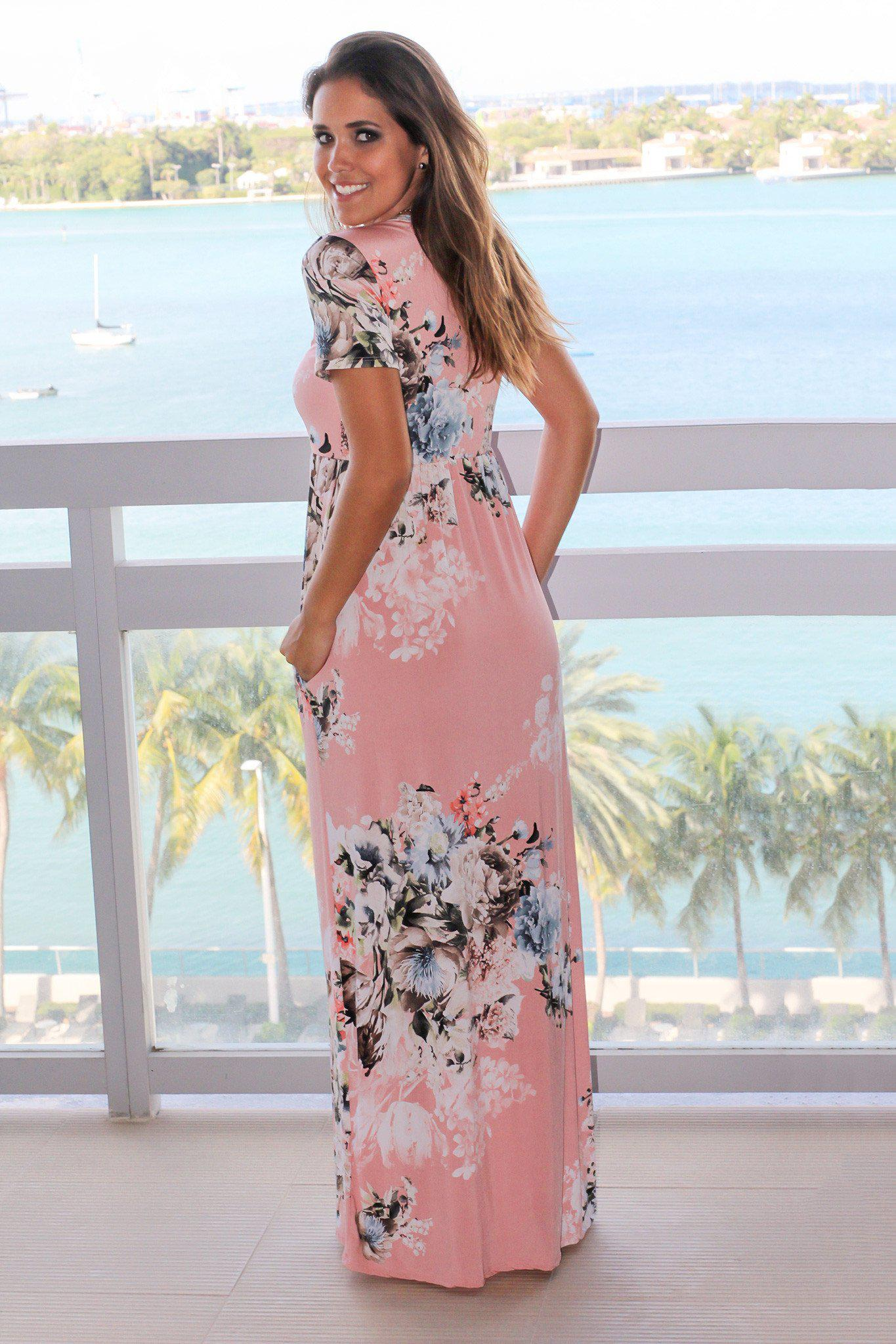 Blush Floral Maxi Dress with Short Sleeves