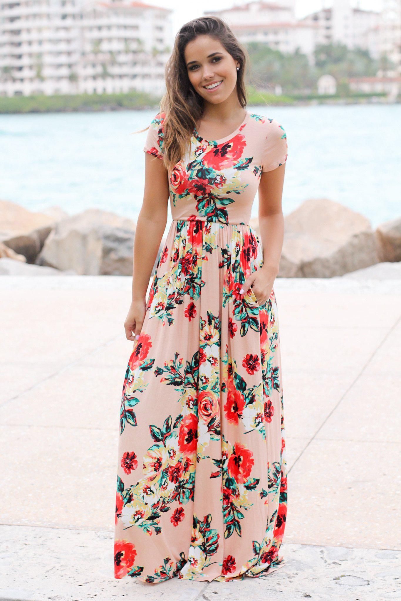 Blush Floral Short Sleeve Maxi Dress with Pockets