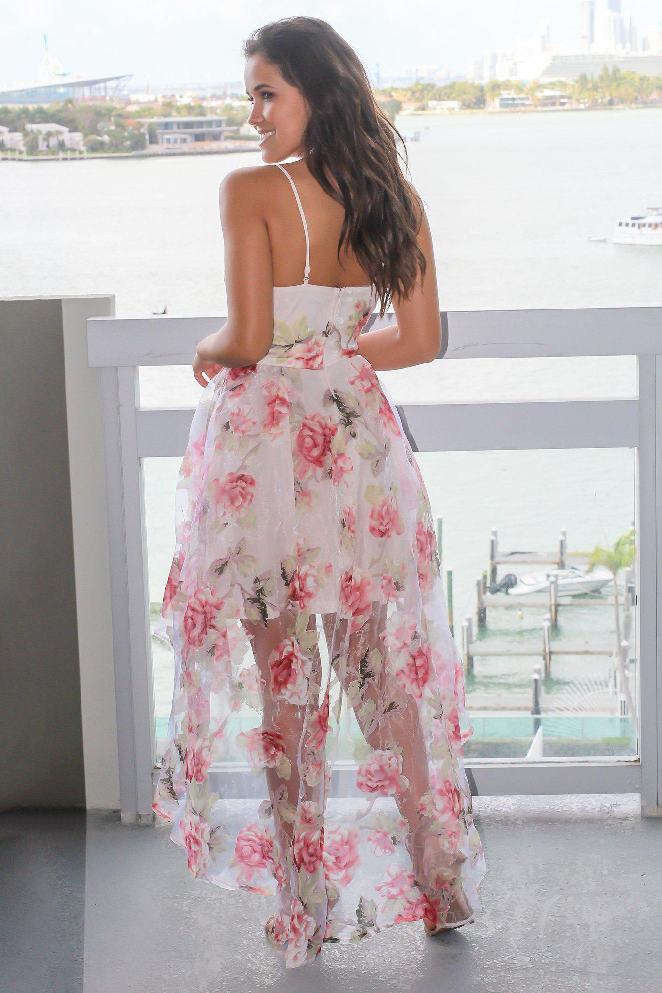 Blush Floral Strapless High Low Dress