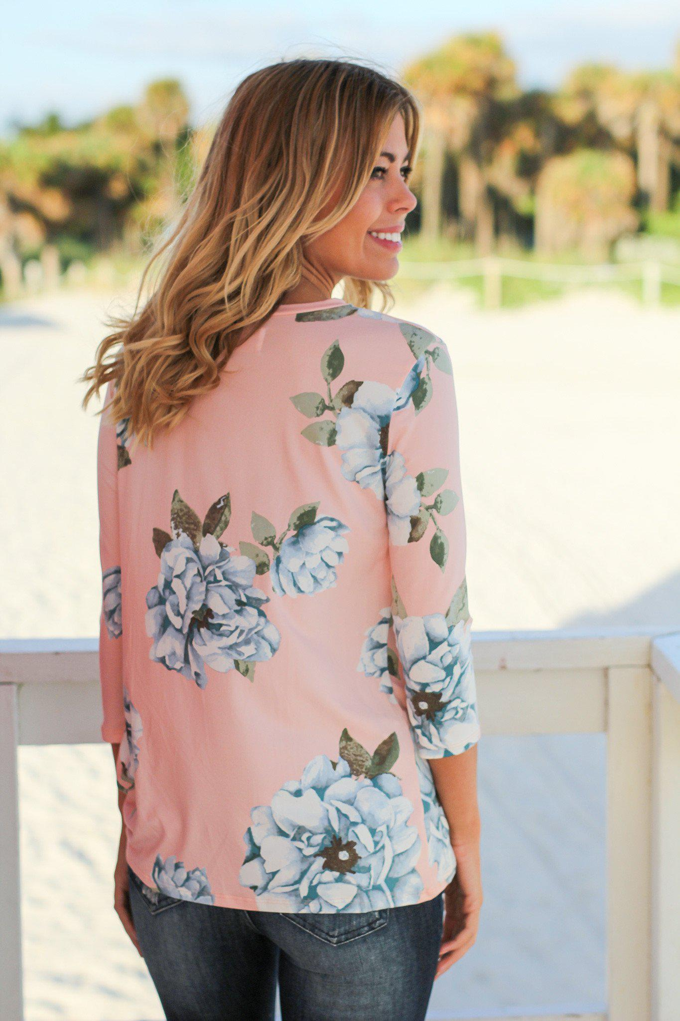 Blush Floral Top with Knot