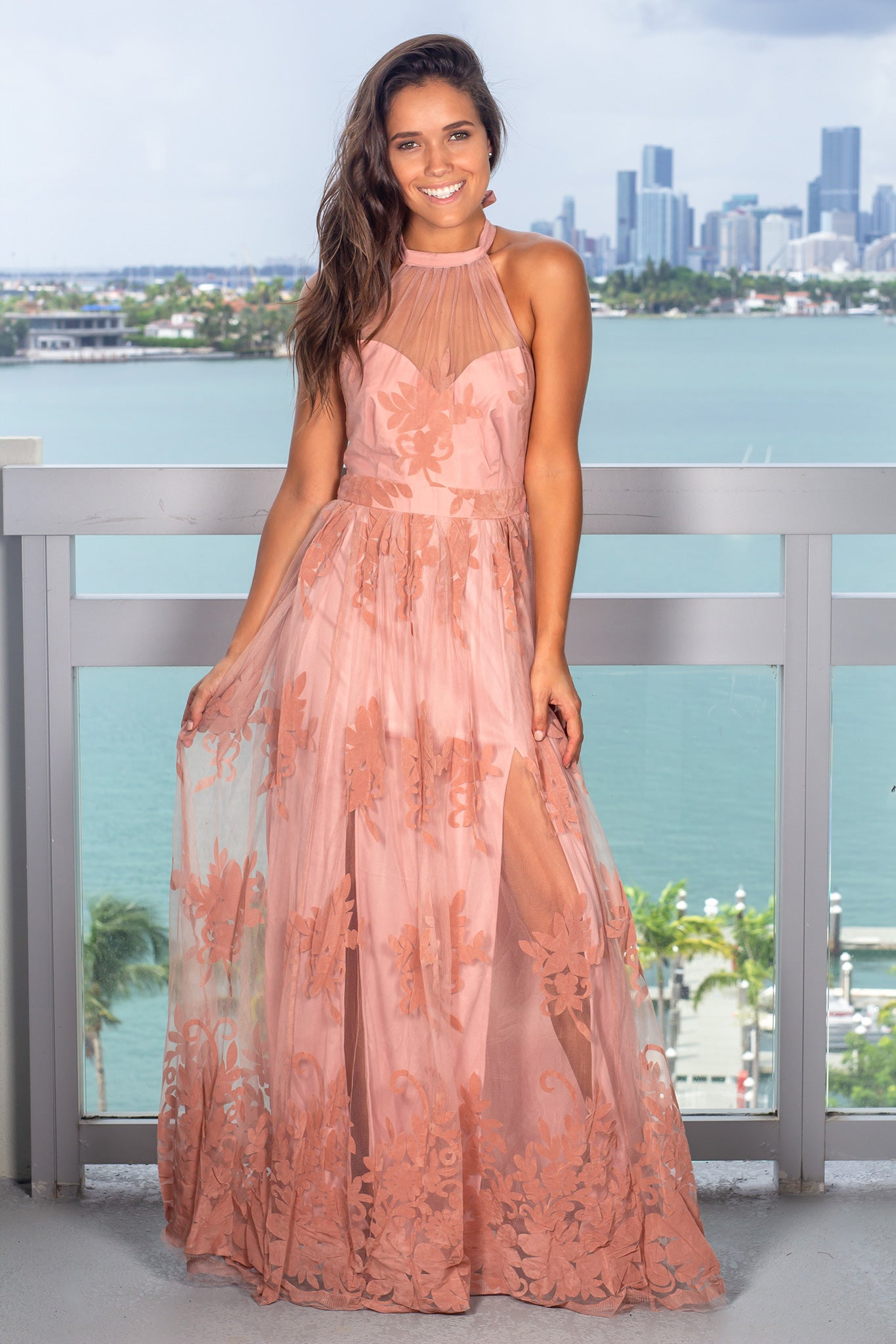 Blush Floral Tulle Maxi Dress with Halter Neck
