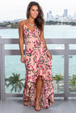 Blush Floral Wrap Dress with Ruffled Hem
