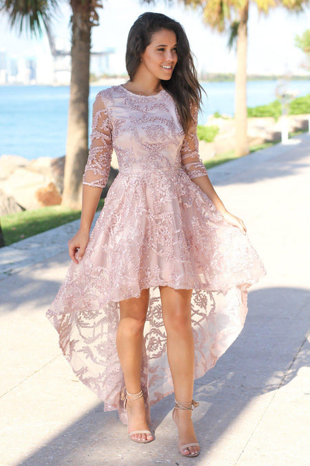 Blush High Low Dress with 3/4 Sleeves