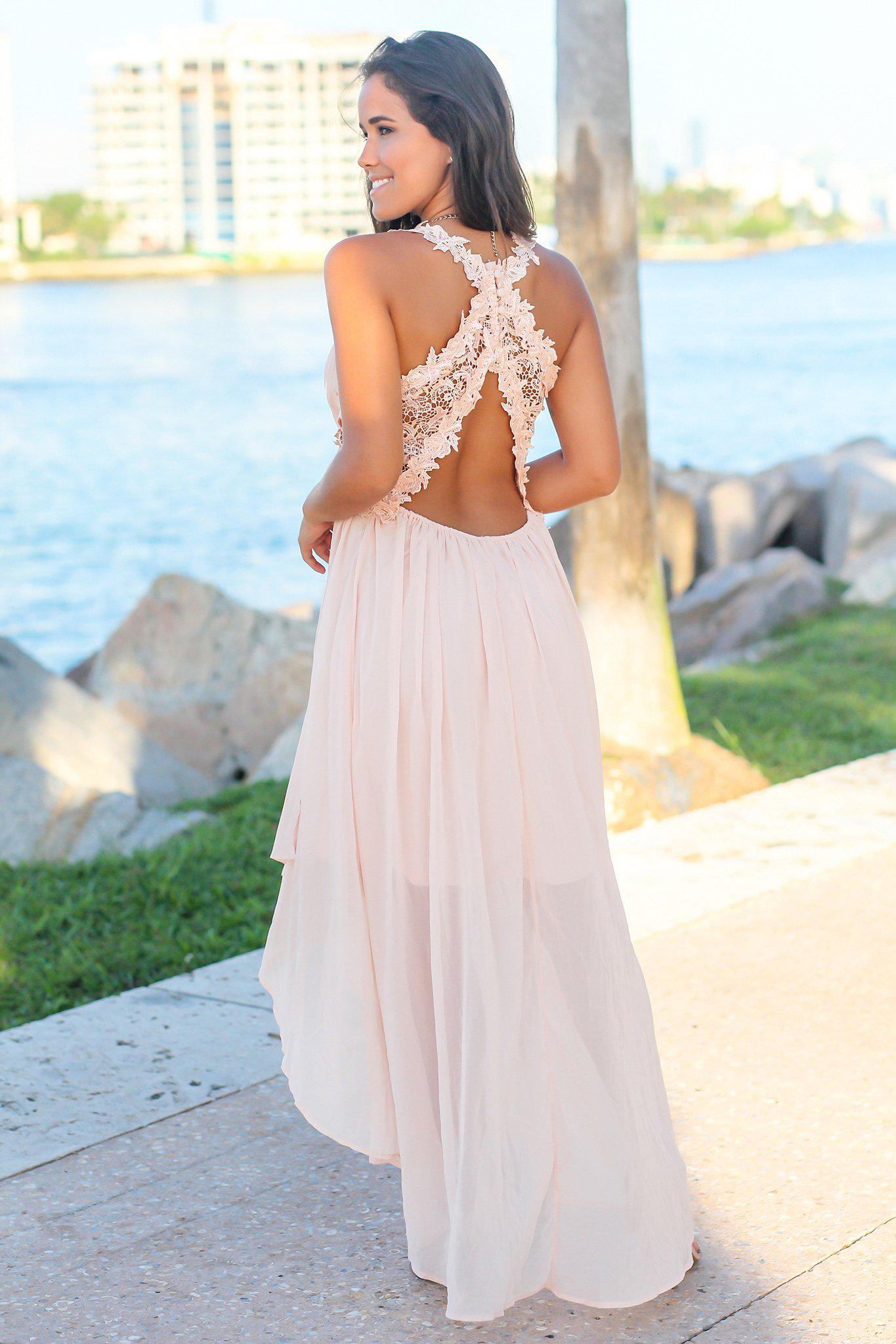 Blush High Low Dress with Crochet Cut Outs