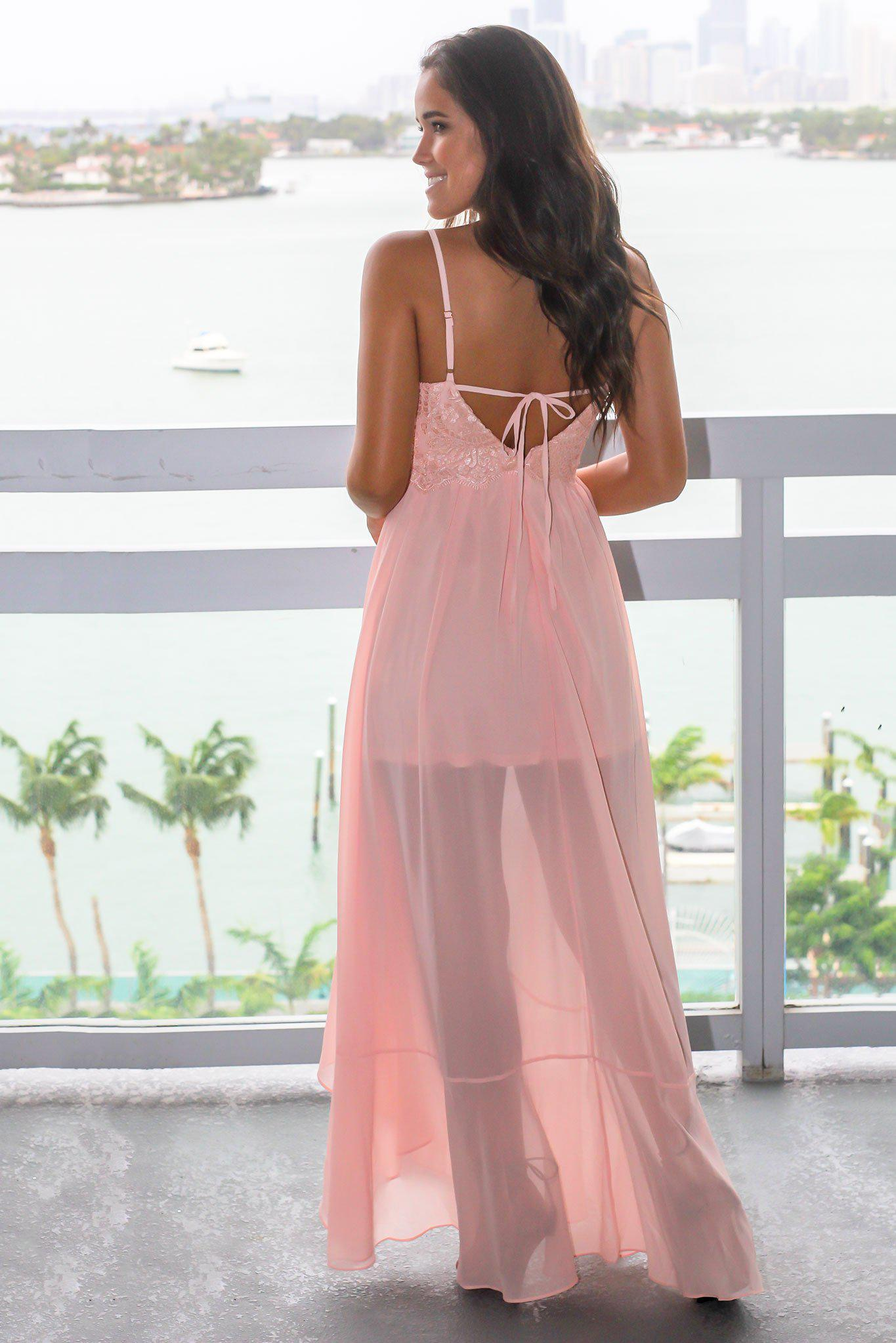 Blush High Low Dress with Embroidered Top