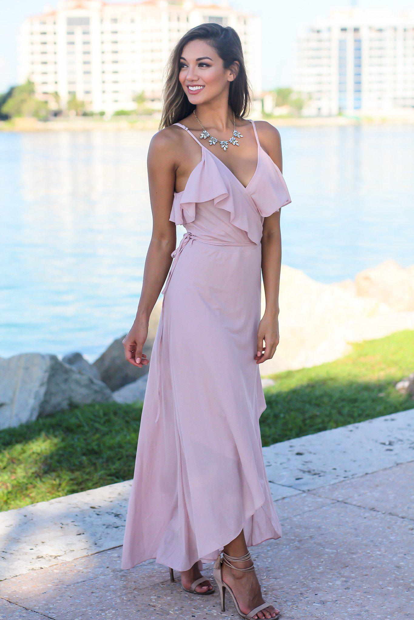 Blush High Low Dress with Ruffle Detail