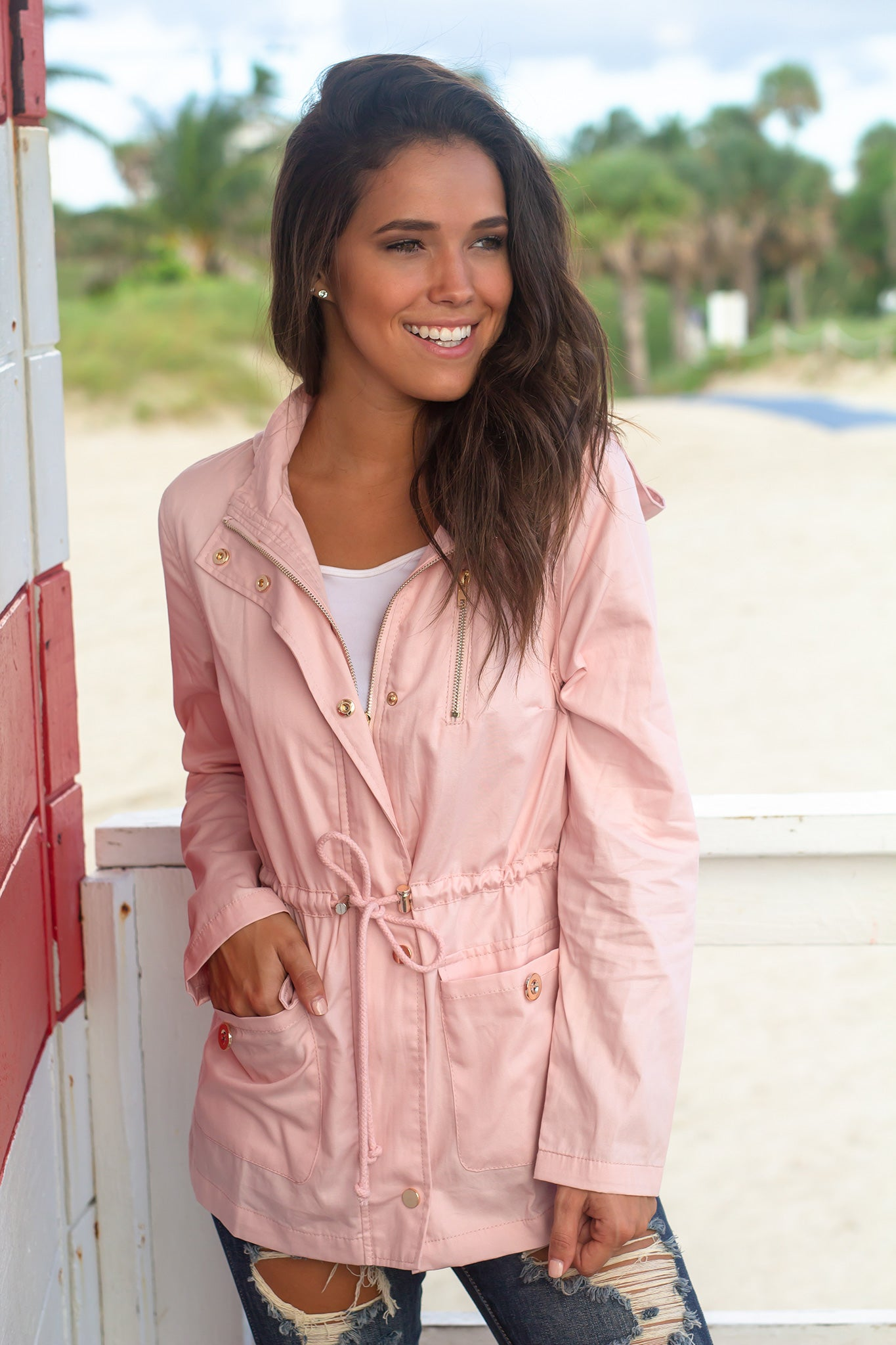 Blush Jacket with Gold Detail