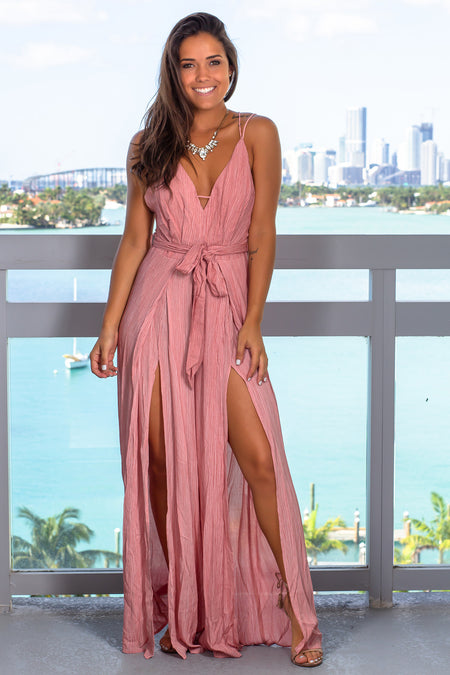 Blush Jumpsuit with Side Slits